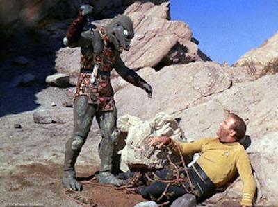 Captain Kirk fighting the Gorn on Cestus III